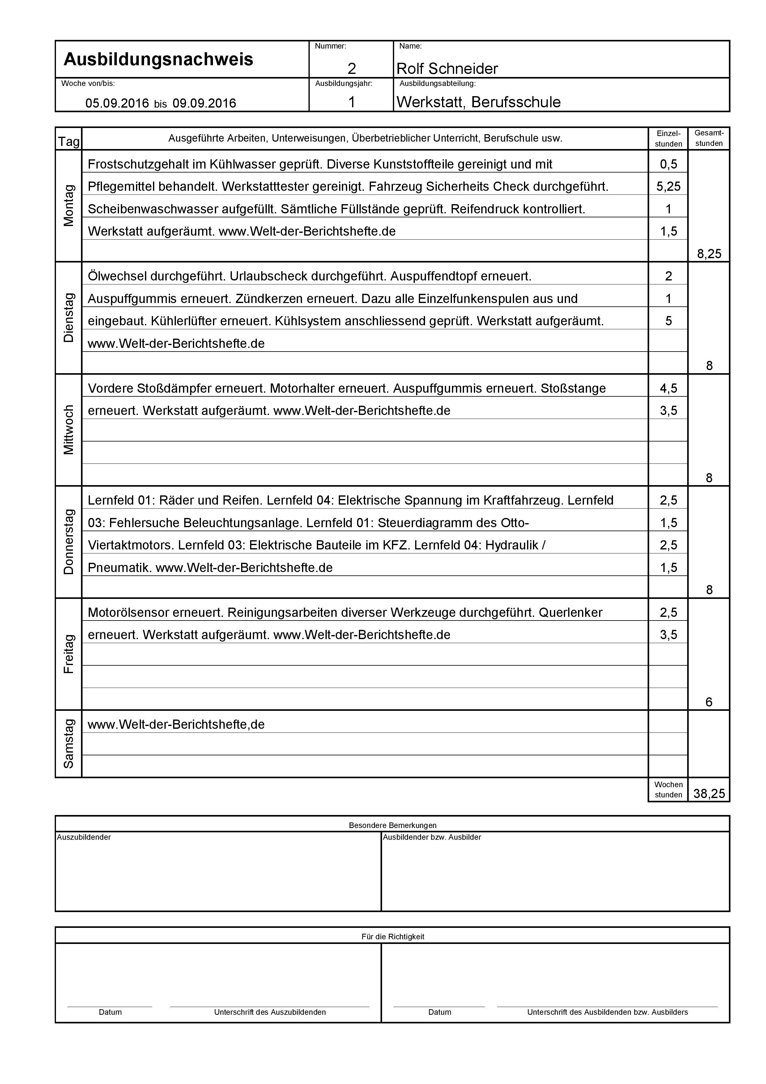 Berichtsheft Service | ernisverfenwand